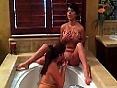 Hot teen lesbian friends in hot tub playing sex