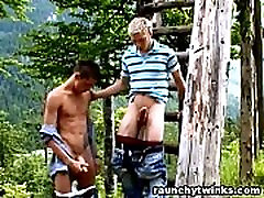 Raunchy Twinks Outdoor Blowjob And Anal Sex