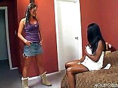 Interracial lesbians lick suck and squirt