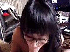White cock starving asian cutie gives blowjob