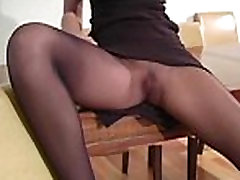 Hairy dirty cleft in transparent tights