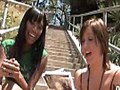 Hot ebony chick in interracial gangbang 8