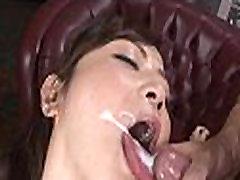 Pretty oriental honey licking cock
