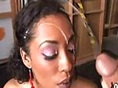Supr hot ebony chick blows a group of white dicks 15