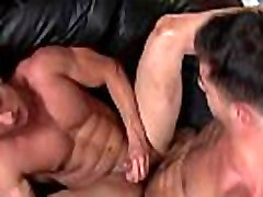 Beefy straight guy joining gay sex orgy