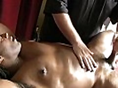 Muscled ebony straight gets bj