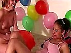 Amateur group at party plays lesbian games