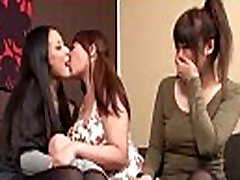 2 Asian Girls Kissing Spitting With 3rd Busty Girl Rubbing Tits On The Couch In