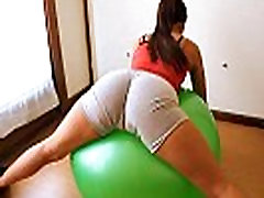 Round Ass Teen Working Out With Fitball Plus Cameltoe &amp Tits