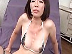 Asian Lady MILF gets face and tits cumshot
