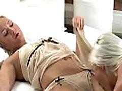 Blonde lesbians in lingerie had oral sex