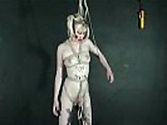 Bizarre lesbian bondage and blonde fetish model Satine Spark lezdom humiliation