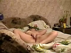 Watch my horny mum masturbating on bed. Hidden cam