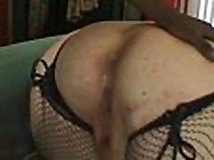 Redhead BBW Slut Sucks Big Black Cock