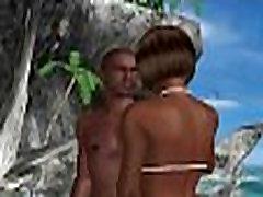 Sexy 3D cartoon ebony babe gets licked on the beach