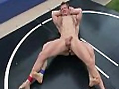 Gays wrestling on mats and ass licking outdoors