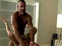 Gay mature masseur assfucks his straight client
