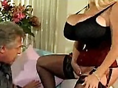 Huge breasts babe teasing guy