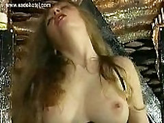 Hot girl with big tits finger fuck and hits herself with a whip