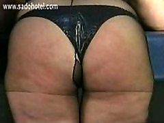 Older slave with big tits got hit on her fat ass by her german master