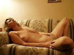 Blonde mature masturbating