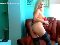 Blonde Xmilenahotx in black stockings