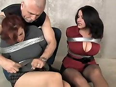 Two curvy hotties tortured in slave sex video