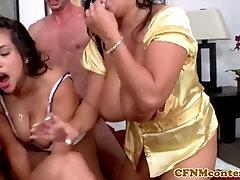 Femdom latina jerking sub cock before facial