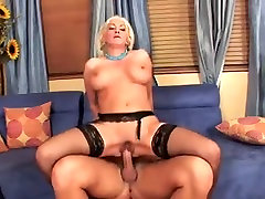 Sexy blonde mature in stockings fucks the neighbour