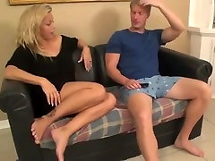 mom helps with a handjob on tits