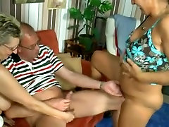middle-aged couple and a mature slut have a threesome
