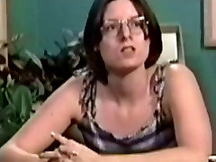 Legal Age Teenager playgirl in glasses gangbanged on the table