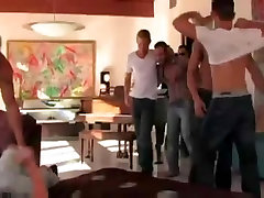 Lovely and hot twinks enjoying gay group sex fun