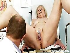 Mature Brigita visiting gyno doctor for real proper gyno examination of her old mature pussy