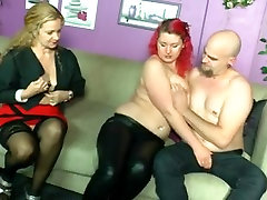 Chubby pierced redhead and mature sharing cock