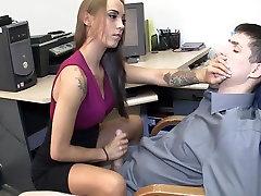 Amazing secretary gives hot sell my gf first sodomie handjob