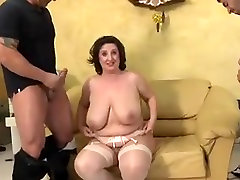big tits mature gets fucked by 3 and DP