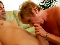 Pierced Granny in Stockings Fucks