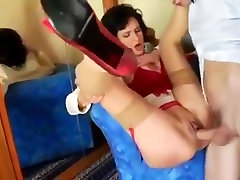 Mom in red lingerie stockings enjoys a junior cock anal