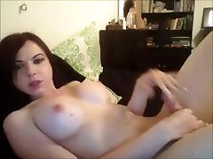 Busty Young Shemale Cumming on Cam