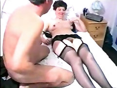 Adult woman in stockings exchanged with oral job with her husband