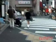 Street sharker stalking a gorgeous slim Asian schoolgirl.