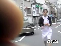 Adoring oriental nurse flashes her bum when some sharking lad lifts her uniform