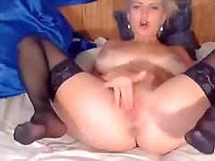 Blonde ManuellaXXX in black stockings