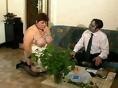 French BBW mature slave tied up in a hot bdsm sex clip