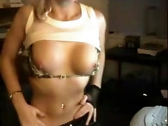Touching my large tits on webcam