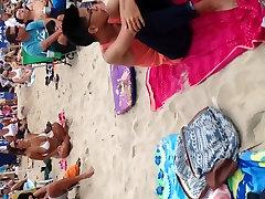 Big boob Asian on the beach