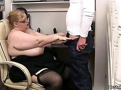Plump massive boobs secretary rides boss cock
