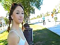teen flashing in crowded park alley