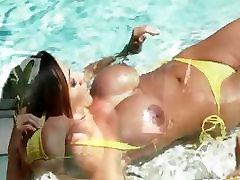 Bikini clad Latina with huge tits gets a huge cock in her ass to help her cum